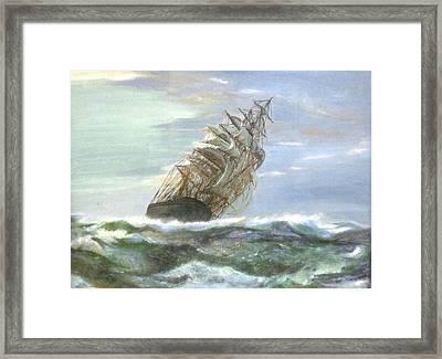 Violent Sea -oil Painting Framed Print by Rejeena Niaz