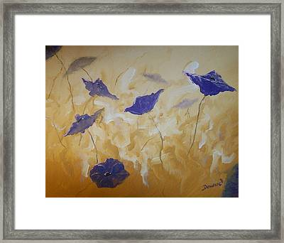 Violet Poppies Framed Print by Raymond Doward
