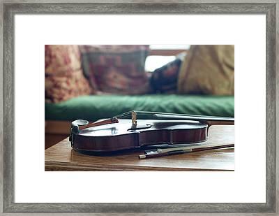 Violin At Cottage Framed Print