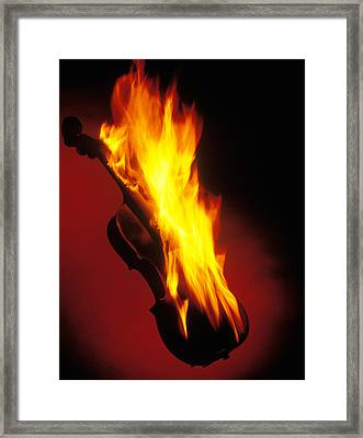 Violin On Fire Framed Print by Garry Gay