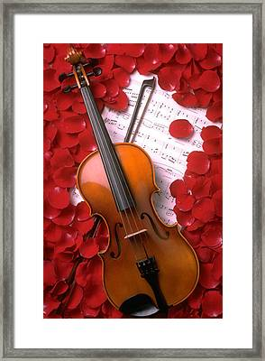 Violin On Sheet Music With Rose Petals Framed Print by Garry Gay