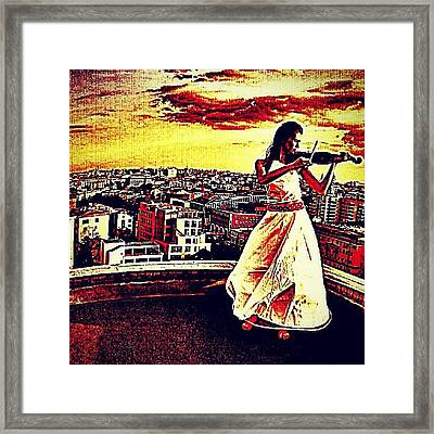 #violin #sunset #city #building Framed Print