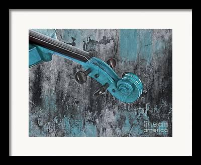 Turquoise Violin Framed Prints