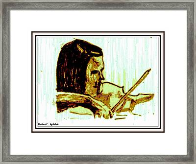 Violinist With Half A Violin Framed Print