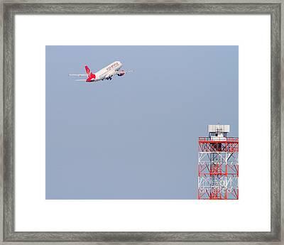 Virgin America Airlines Jet Airplane At San Francisco International Airport Sfo . 7d11915 Framed Print