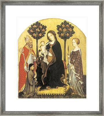 Virgin And Child Enthroned Framed Print by Gentile Da Fabriano