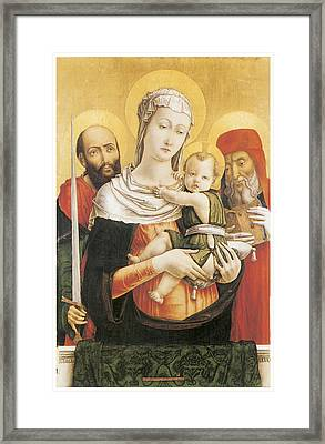 Virgin And Child With Saints Paul And Jerome Framed Print by Bartolomeo Vivarini
