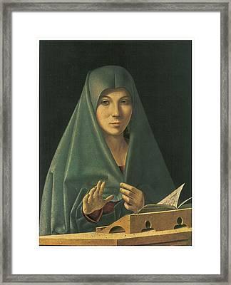 Virgin Annunciate Framed Print by Antonello Da Messina
