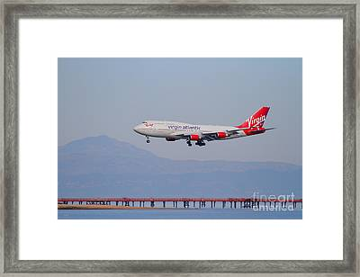 Virgin Atlantic Airways Jet Airplane At San Francisco International Airport Sfo . 7d12191 Framed Print