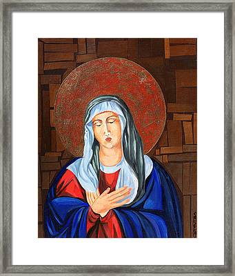 Virgin Mary Framed Print by Claudia French