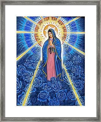 Virgin Of The Blue Roses Framed Print