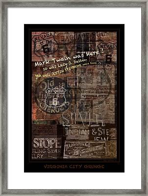 Virginia City Nevada Grunge Poster Framed Print by John Stephens