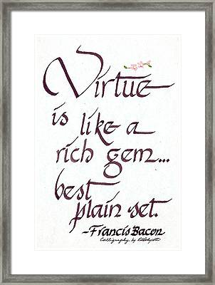 Virtue Framed Print by Ruth Bodycott