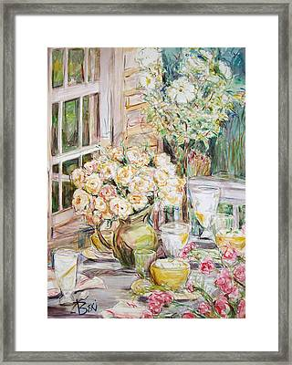Framed Print featuring the painting Visit 1 by Becky Kim