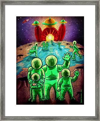 Visit The Moon Framed Print by Baird Hoffmire