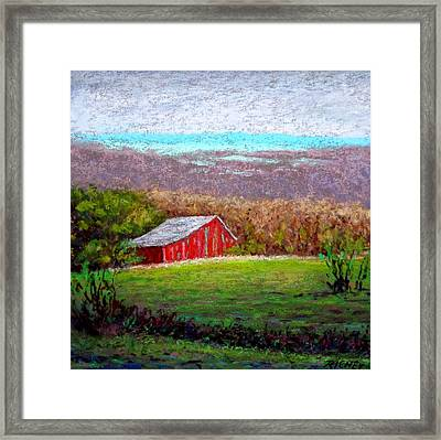 Vista With Red Barn Framed Print by Bob Richey