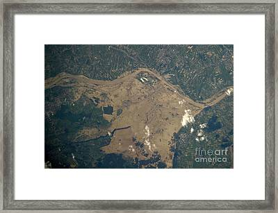Vistula River Flooding, Southeastern Framed Print by NASA/Science Source