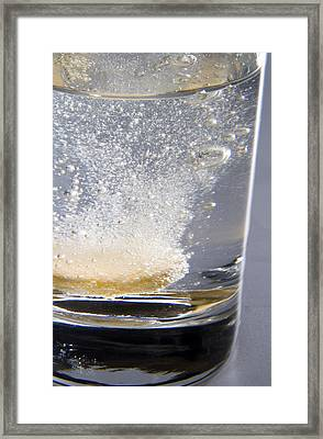 Vitamin Tablet Dissolving In Water Framed Print