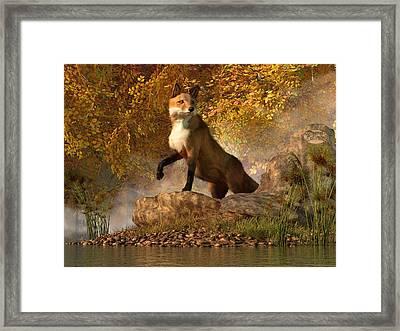 Vixen By The River Framed Print by Daniel Eskridge