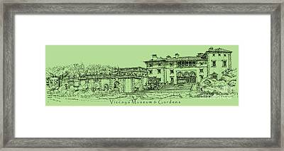 Vizcaya Museum In Olive Green Framed Print by Adendorff Design
