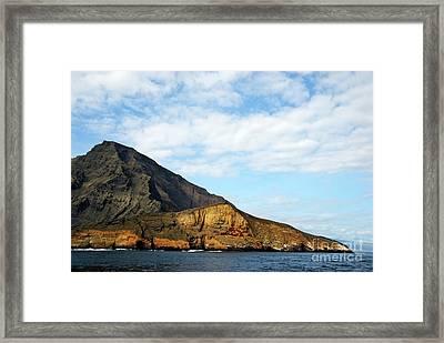 Volcanic Landscape By Coastline Framed Print by Sami Sarkis