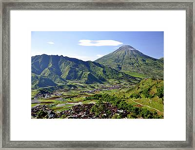 Volcano Near Dieng Plateau Framed Print by Jens U. Hamburg