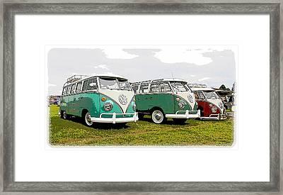 Volkswagen Bus Row Framed Print by Steve McKinzie