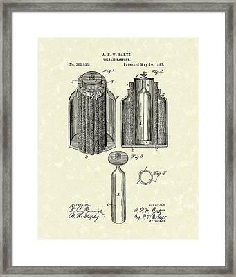 Voltaic Battery 1887 Patent Art Framed Print by Prior Art Design