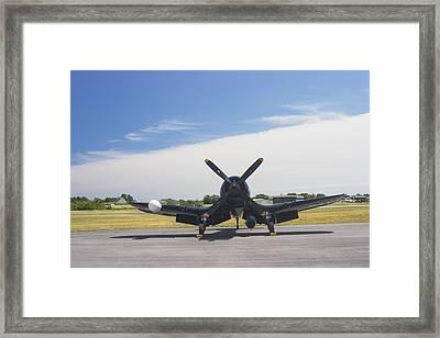 Vought F4u Corsair Fighter Plane On Runway Canvas Photo Poster Print Framed Print