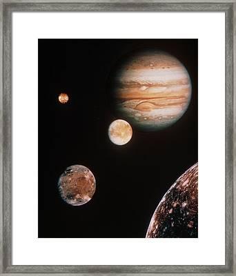Voyager Mosaic Of Jupiter & Its 4 Galilean Moons Framed Print by Nasa