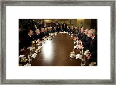 Vp Cheney President Bush And Sec. Gates Framed Print