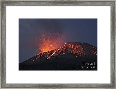 Vulcanian Eruption Of Anak Krakatau Framed Print by Richard Roscoe