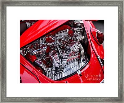 Vw Beetle With Chrome Engine Framed Print by Kaye Menner