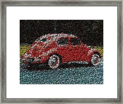 Vw Bug Bottle Cap Mosaic Framed Print