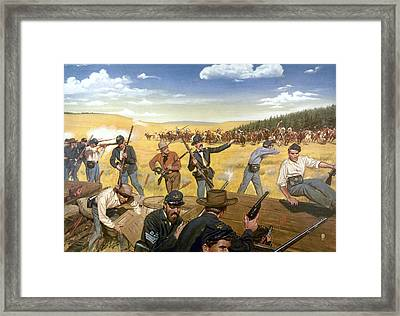 Wagon Box Fight, 1867 Framed Print by Granger