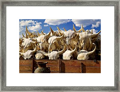 Wagon Full Of Animal Skulls Framed Print by Garry Gay