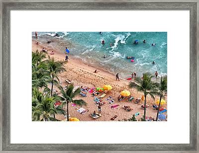 Framed Print featuring the photograph Waikiki Beach Aerial 1 by Jim Albritton
