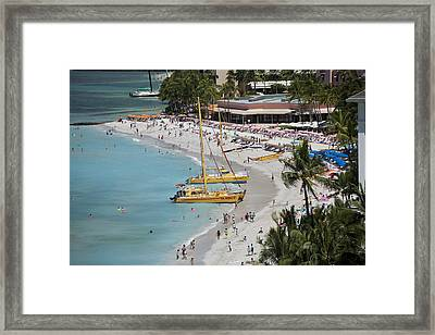 Waikiki Beach And Catamarans Framed Print by Peter French
