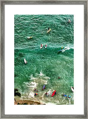 Framed Print featuring the photograph Waikiki Surfing by Jim Albritton