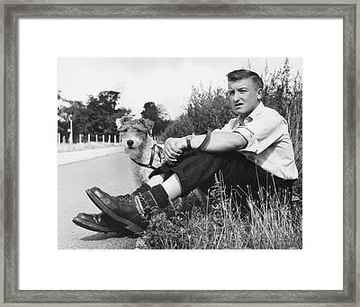 Wait With Dog Framed Print by John Drysdale