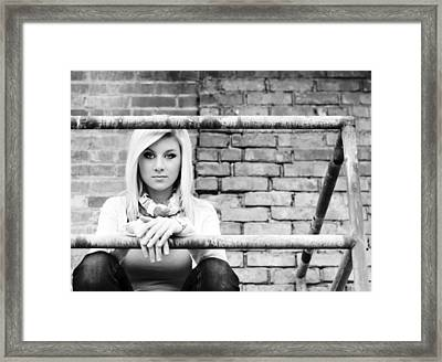 Waiting And Watching Framed Print by MaryJane Armstrong