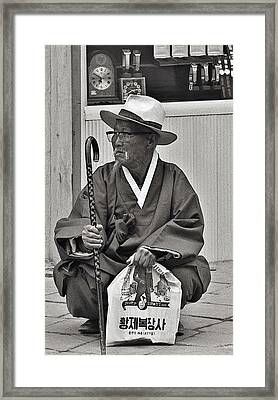 Framed Print featuring the photograph Waiting For A Bus by Craig Wood