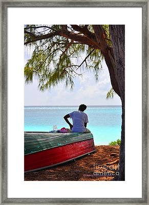 Waiting For Her Ship To Come In Framed Print by Li Newton