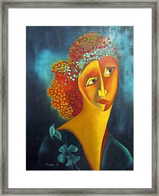 Waiting For Partner Orange Woman Blue Cubist Face Torso Tinted Hair Bold Eyes Neck Flower On Dress Framed Print