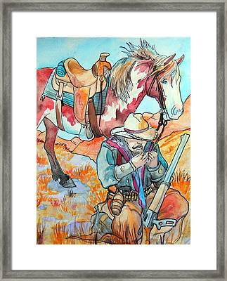 Framed Print featuring the painting Waiting For Sunset by Jenn Cunningham