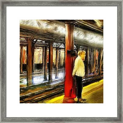 #waiting For The #1 #train.  #newyork Framed Print