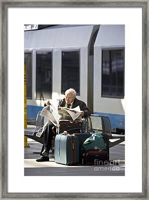 Waiting For The Train Framed Print by Heiko Koehrer-Wagner
