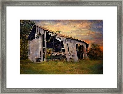 Waiting To Fall Framed Print by Kathy Jennings
