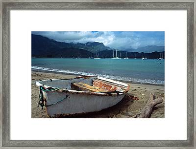 Waiting To Row In Hanalei Bay Framed Print by Kathy Yates