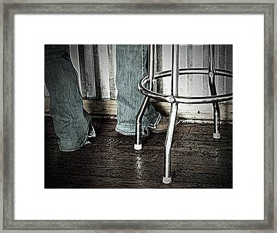Waitress In Boots Framed Print by Chris Berry